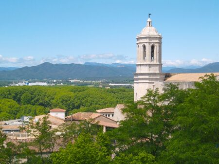 Girona view of the Cathedral tower for the city walls Stock Photo