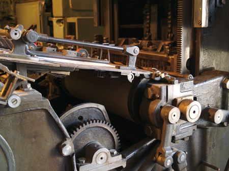 Old printing press with cogs, bars, wheels and levers Stock Photo - 939916