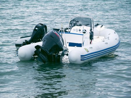 Inflatable motorboat Stock Photo