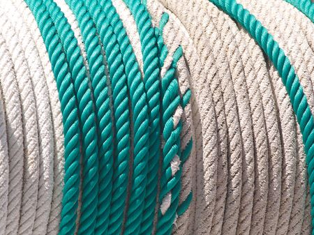rope green and white on a drum or winder