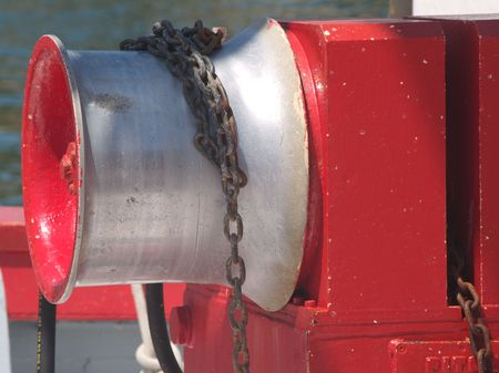 Chain on winch of fishing boat