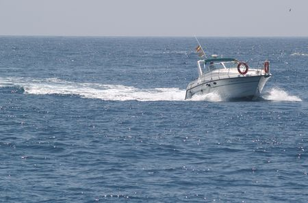 motor boat on the Mediteranean Stock Photo