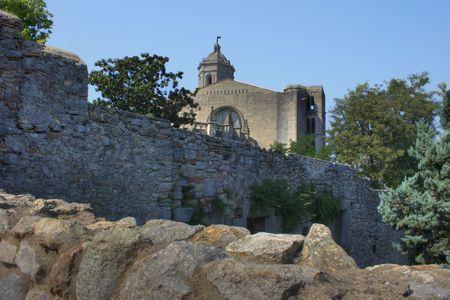 High Dynamic Range image of the city walls of Girona Stock Photo