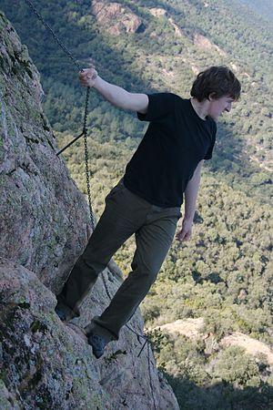 Climbing the rocks at Solius