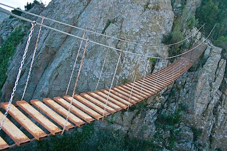 wire and metal hanging bridge over deep ravine