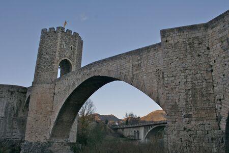 Besalu bridge, Baix Emporda, Costa Brava Spain Stock Photo