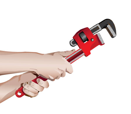 pipe wrench: Wrench in Workmans Hands