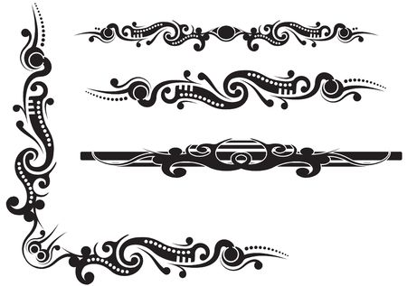 fancy border: Tribal corner flourish with extra dividers, vector illustration totally labelled and on layers
