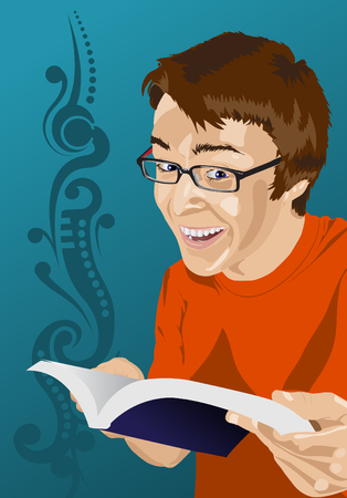 genial: Happy young man reading a book Illustration