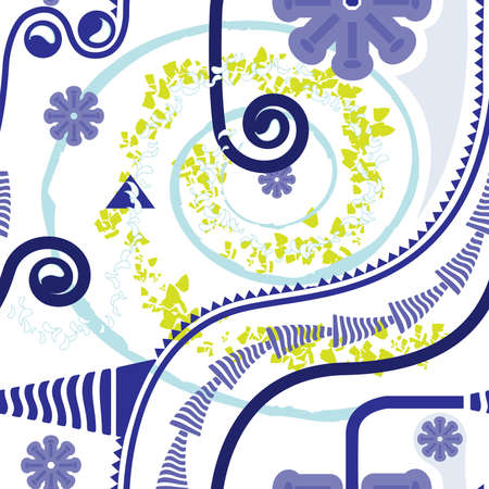 floral swirl spiral repeating pattern Stock Photo