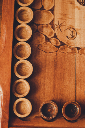 Handmade board for a game of backgammon Stock Photo