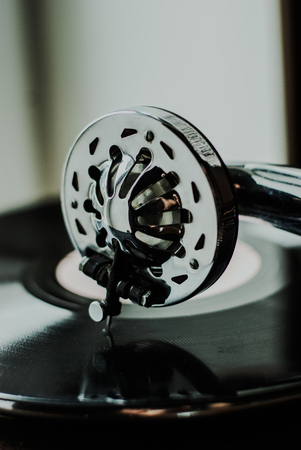 old fashioned gramophone player close up. detail Stock Photo