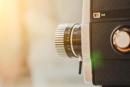 old black vintage movie camera close up