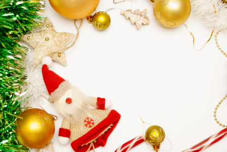 Christmas composition. Christmas decorations on white background.