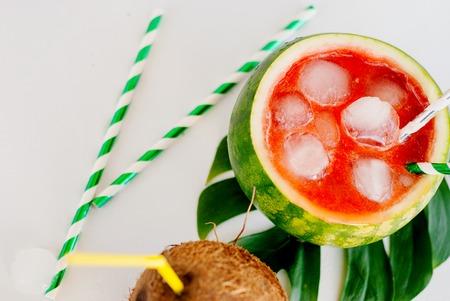 Tasty watermelon smoothie in the fresh watermelon
