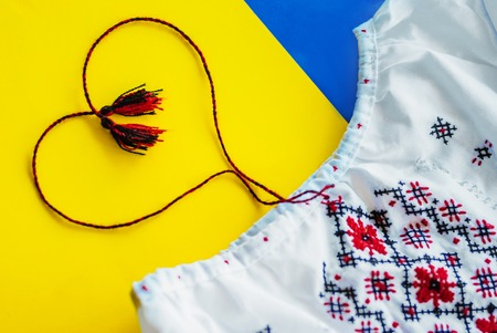 Ukrainian national colors, sunflower and traditional embroidered cloth