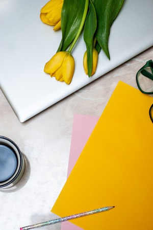 Stylish flat lay home office desk workspace with laptopTop view lifestyle blog. Flat lay, Bunch of spring tulip flower.A bouquet of spring flowers with laptop. Spring Tulips Background. Mothers day.