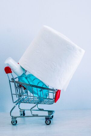 a roll of white toilet paper and sanitizer in a shopping cart as a symbol of consumer panic about coronavirus 스톡 콘텐츠 - 142460613