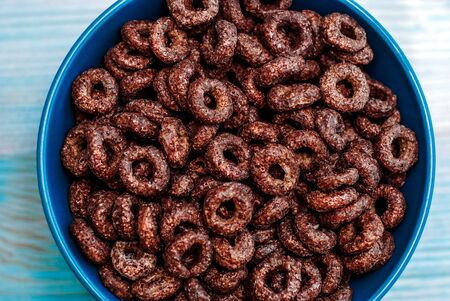 pattern of chocolate cereal rings for breakfast