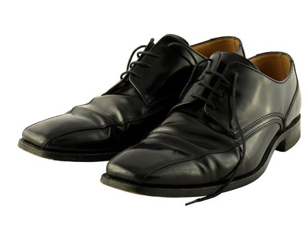 A comfortable pair of black leather traditional formal lace up shoes.