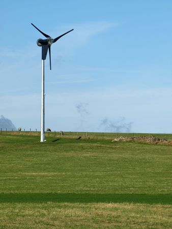 diversify: Hill farmers diversify to raise additional income from wind turbine power electricity, Peak District National Park.
