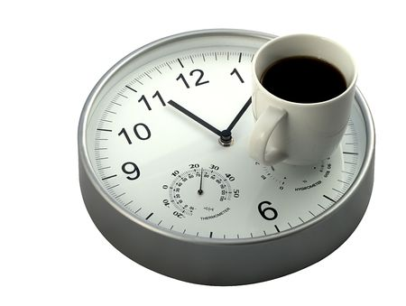 office break: Mid morning coffee break, mug of coffee and clock