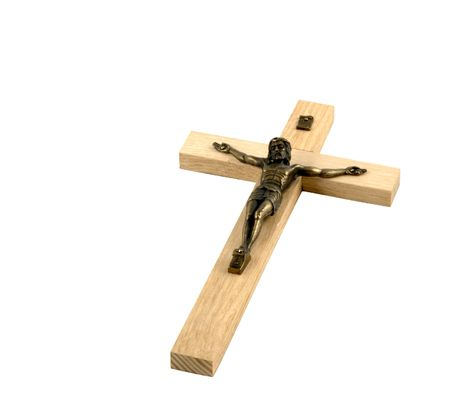 Jesus crucified on a wooden cross