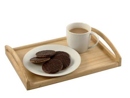A tray with mug of tea and plate of biscuits photo