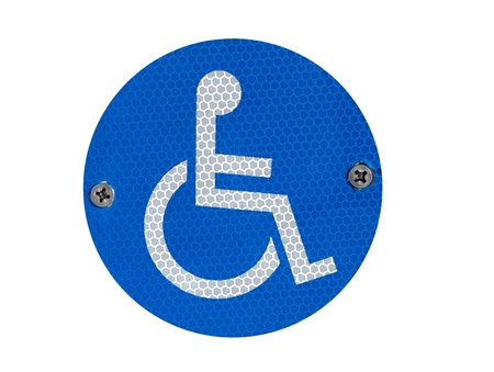 A reflective disabled parking sign  - isolated over white Stock Photo
