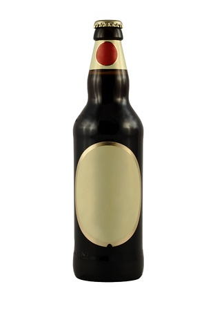 A brown beer bottle with blank label isolated over white Stock Photo