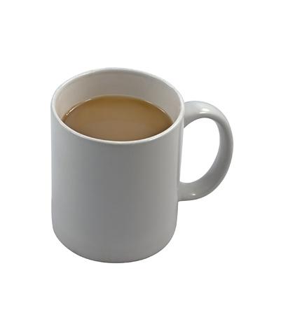 A white china mug of tea isolated
