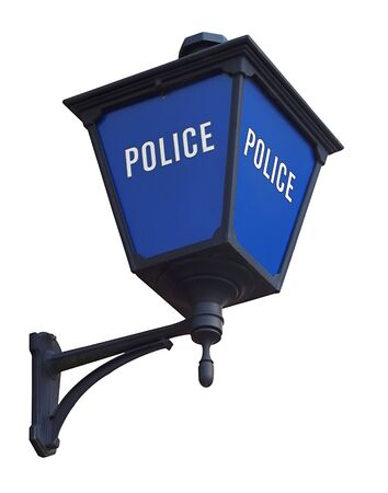 Blue police station lamp isolated on white