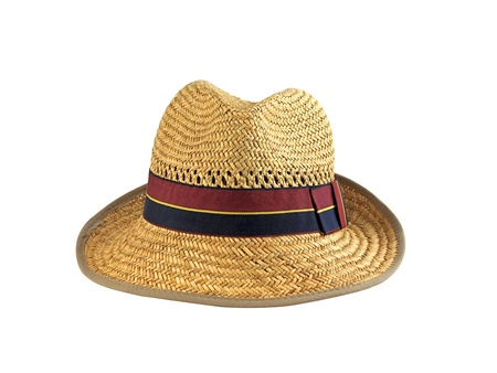 Straw summer holiday hat for a man isolated on white front view