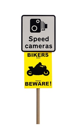 Sign warning of speed cameras and motorcyclist to beware