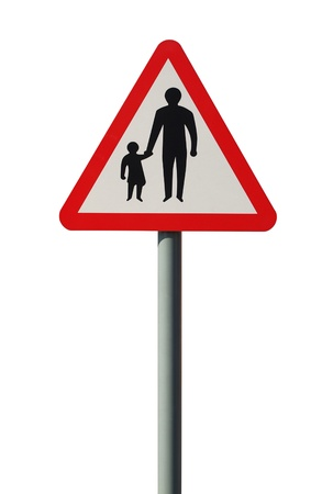 Pedestrians in the road UK warning sign photo
