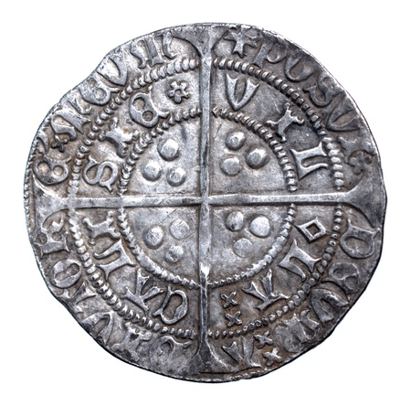 henry: Henry VI groat, rosette-mascle issue, Calais mint, 1430-1431, reverse, in very fine condition Stock Photo