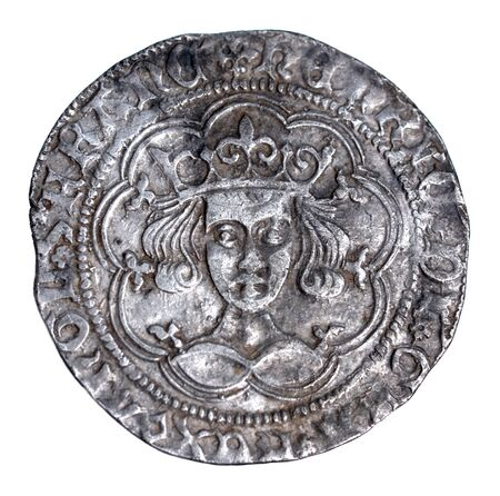 Henry VI groat, rosette-mascle issue, Calais mint, 1430-1431 obverse in very fine condition Stock Photo