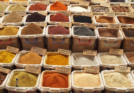 Colorful spices on Turkish Market photo