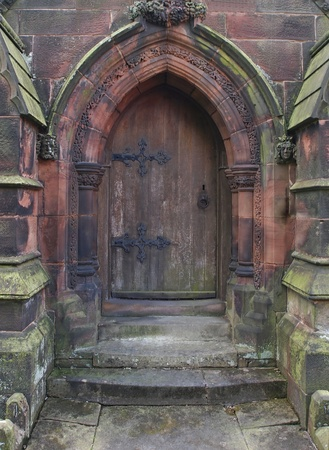 door to north porch St. Giles church, Cheadle by Pugin Stock Photo