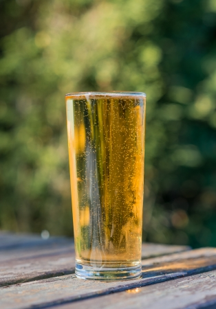 pint of cider on beer garden table