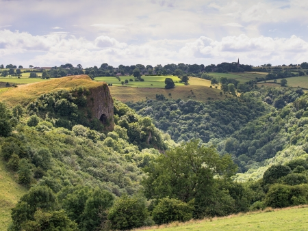 thor's: view of thors cave, manifold valley a peak district tourist attraction