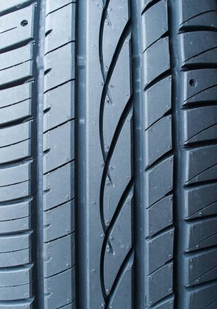tyre tread: close up of car tyre tread pattern Stock Photo