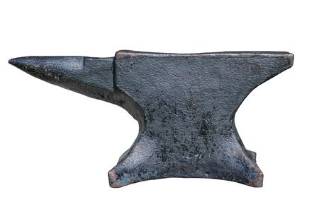 rusty black anvil isolated on white