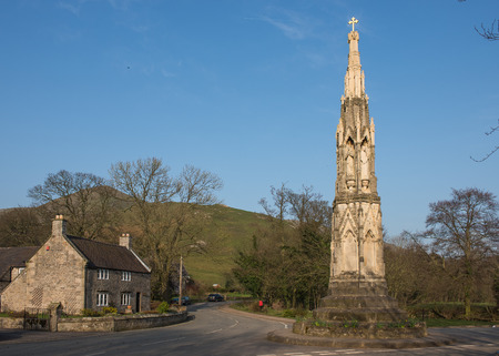 the cross at ilam a popular tourist destination in the peak district national park photo