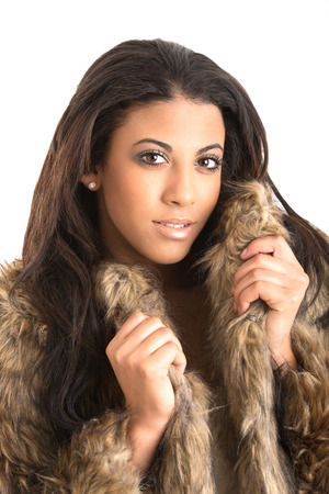 beautiful young woman fur coat