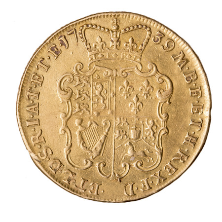 2nd century: George II double guinea old gold coin found with metal detector Editorial