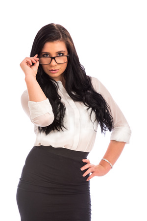 attractive business woman wearing glasses photo