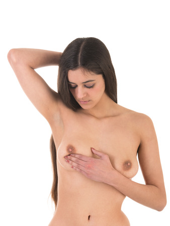 one of series young woman self examination breast cancer