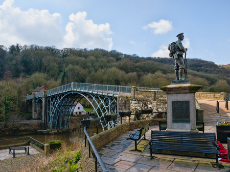The first cast iron bridge at ironbridge, shropshire birthplace of industrial revolution