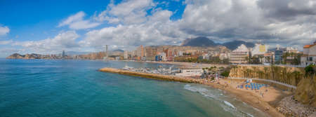 Panorama view of Poniente and malpas beaches in Benidorm Spain